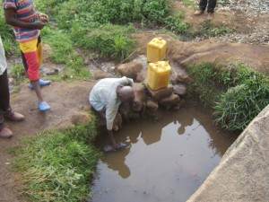 Local water source before the borehole.